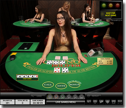 Live Dealer Casino Hold'em for real money