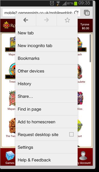 Royal Vegas Web App Browser Settings