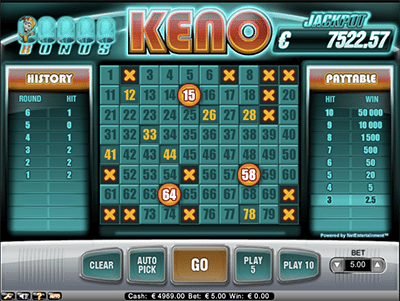 Bonus Keno progressives by NetEnt