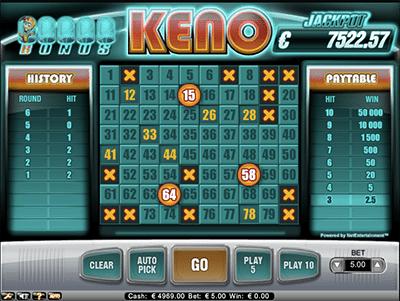 Bonus Keno progressives by NetEnt