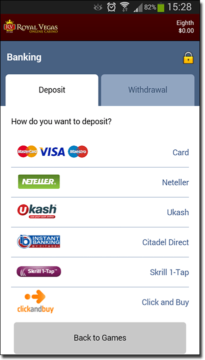 Mobile casino deposits and withdrawals
