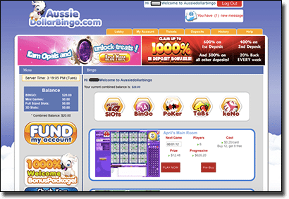 Play online housie at Aussie Dollar Bingo