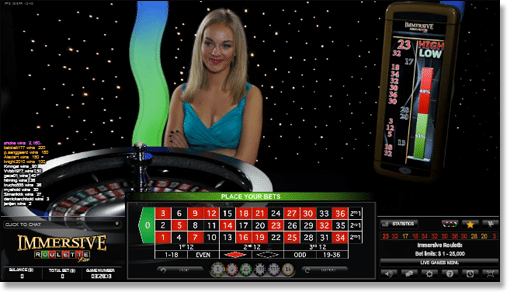 Play live dealer immersive roulette