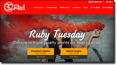 32Red - Ruby Tuesday loyalty points promo