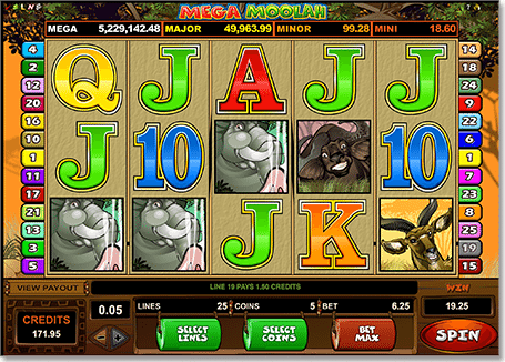 Play Mega Moolah jackpot progressive slots on the Internet