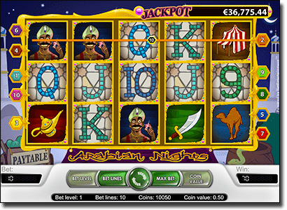 Play Arabian Nights progressive jackpot slots