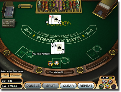 BetSoft Pontoon online casino game