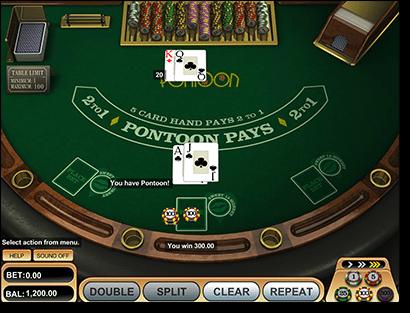 BetSoft Pontoon online casino game