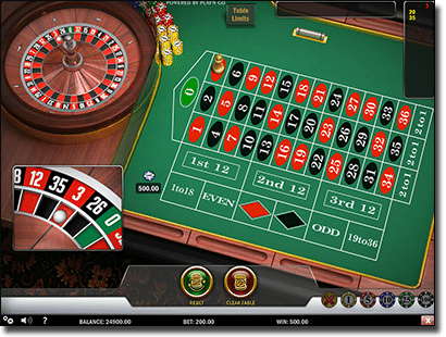 Play European roulette online by Play'n Go