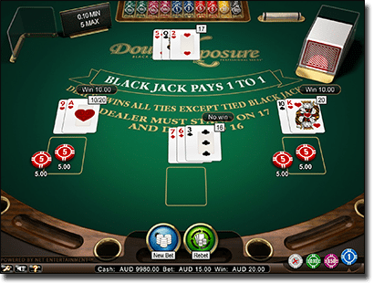 Play Double Exposure Blackjack online at G'Day Casino