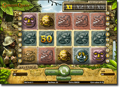 Play Gonzo's Quest multiplier pokies online