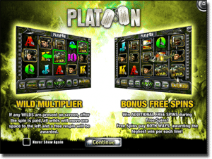 Platoon online video slots in AUD