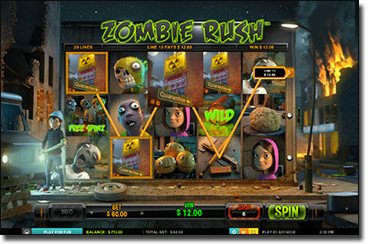 Play Zombie Rush online slots by Leander