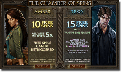 Immortal Romance - Chamber of Spins bonus feature