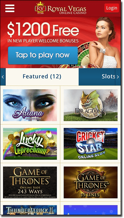Royal Vegas mobile casino for Australians