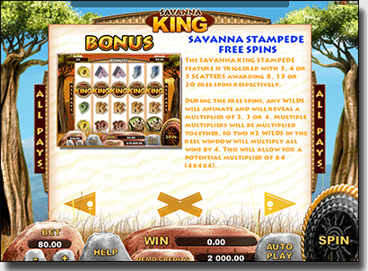 Savanna King pokies bonuses