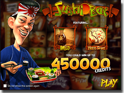 Play Sushi Bar real money slots by BetSoft