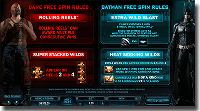 The Dark Knight Rises free spin features
