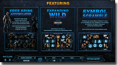 The Dark Knight Rises online slot bonus features and wilds
