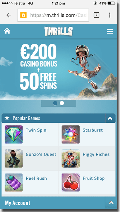 Thrills mobile casino for AUD players