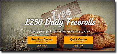 $250 free roll pokies tournaments at 32Red Casino