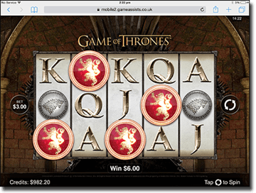 Game of Thrones pokies on iPad