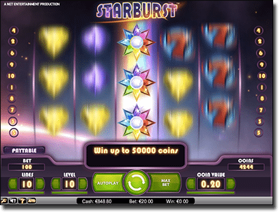 Starburst expanding wilds bonuses