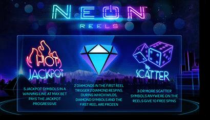 Neon Reels progressive jackpot prizes