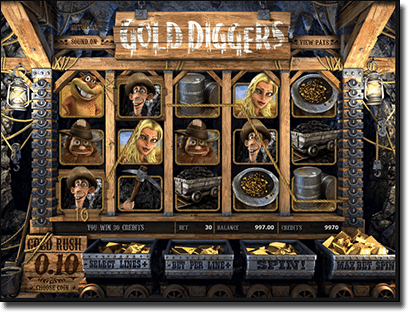 Play Gold Diggers online pokies by BetSoft