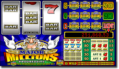 Major Millions 3-reel progressive online slots