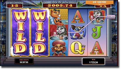 Kitty Cabana slots - free spins and expanding wilds