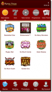 Royal Vegas Casino app games selection