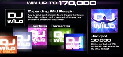 DJ Wild symbols and bonus features