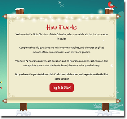 Guts Casino Christmas trivia comp