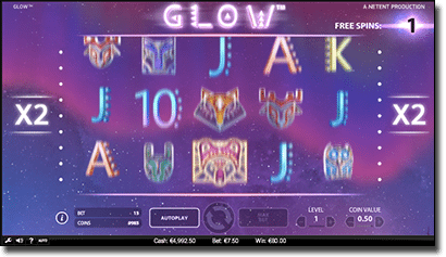 Glow pokies free spins feature