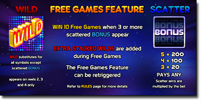 Starmania pokies special features