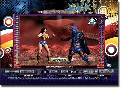 Ares Showdown special feature in Wonder Woman pokies