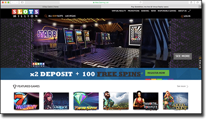 Slots Million Casino in Apple Safari Web browser