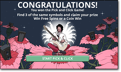 Jimi Hendrix online slot pick and click free game feature