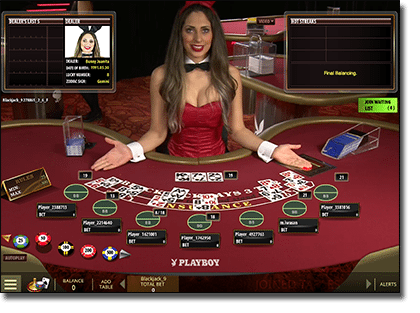Play Playboy Bunny blackjack live dealer with beautiful dealers