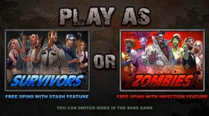 Play as Survivor or Zombie in Lost Vegas pokies