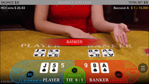 Live dealer mobile baccarat