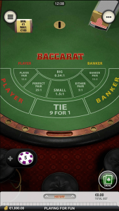 Mobile baccarat at Casino.com