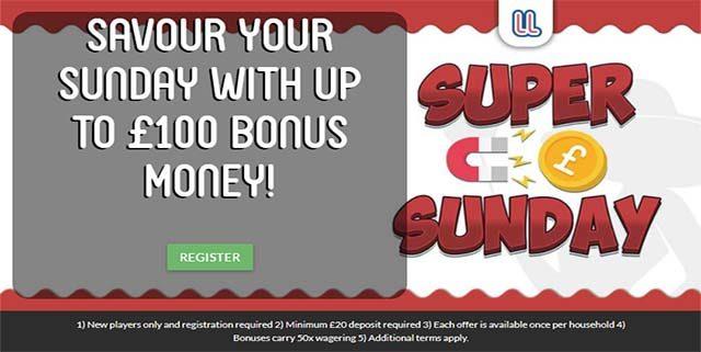 LadyLucks online casino site Sunday bonus offer