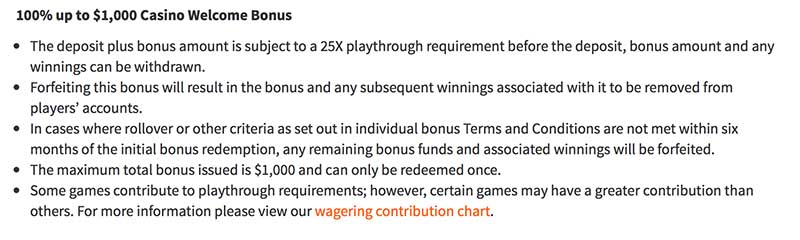 Ignition Casino welcome bonus terms and conditions