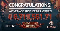 Hall of Gods jackpot goes off at Leo Vegas