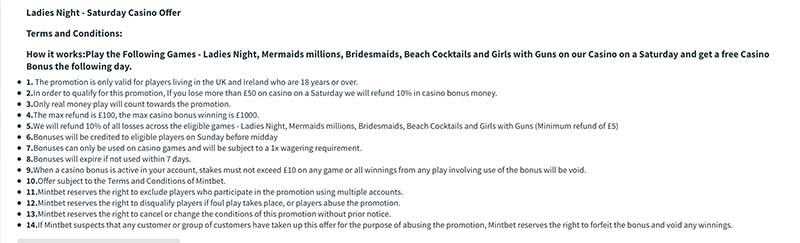 Mintbet Ladies night promotion