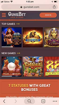 Gunsbet Mobile Login and website