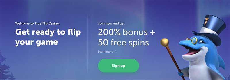 True Flip casino sign up bonus offer